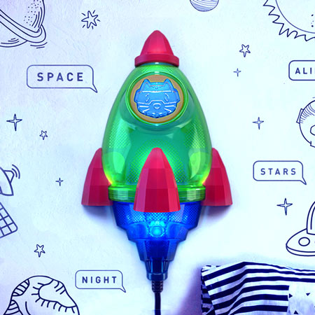 Night light for kids room Rocket, Space Rocket lamp - outer space themed kids room decor