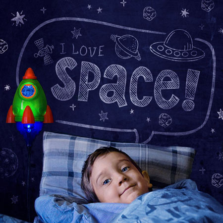 Rocket night light for kids room - outer Space themed bedroom decor for boys and girls