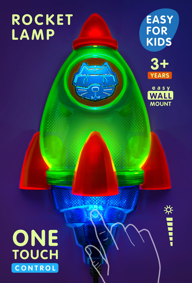 Space Rocket night light for kids  – space rocket lamp for kids LED  by Cats on a mission