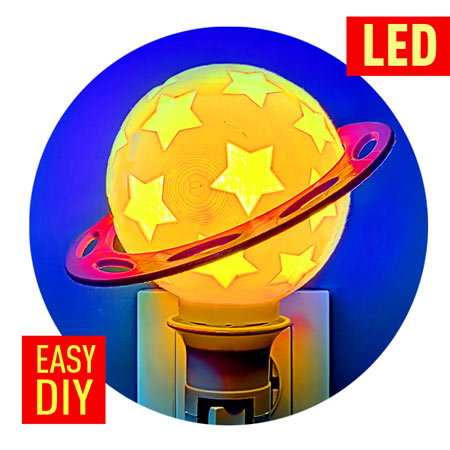 Planet Night Light for kids – DIY led night light 3d printed project