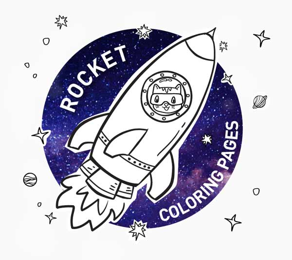 Rocket coloring pages for kids: rocket, planets, star coloring pages - Cats on a mission