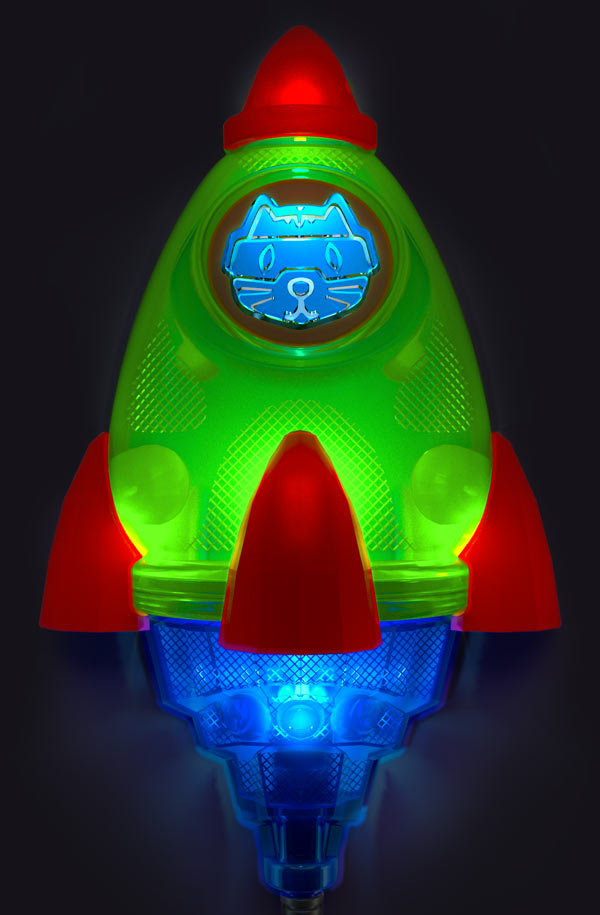 Space Rocket night light for kids  DARK – LED light for kids by Cats on a mission
