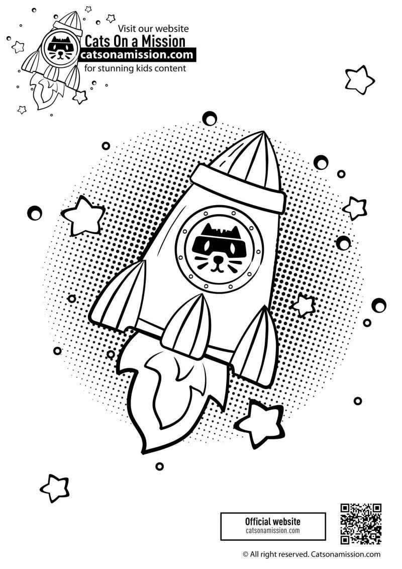 Printable Rocket ship coloring page for kids | Rocket with planets in outer space