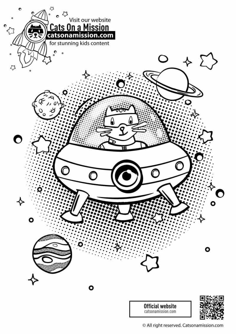 Printable spaceship coloring page for kids | Spaceship in outer space coloring pages