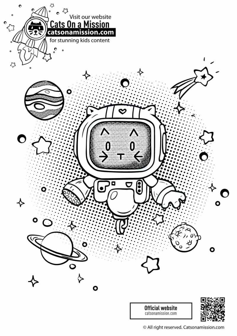 Printable Space Cat Robot coloring pages for kids | Cat Robot in outer space with planets for toddlers
