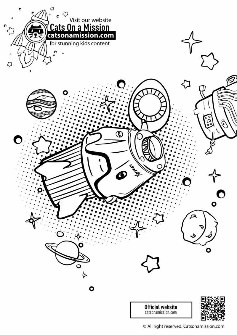 Printable spaceship & planets coloring pages for kids | Spaceship in outer space coloring pages