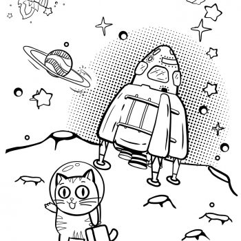 Printable spaceship & planets coloring pages for kids | Spaceship on unknown planet coloring pages for toddlers small preview