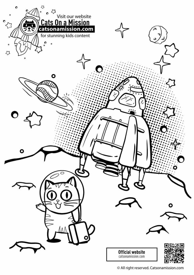 Printable spaceship & planets coloring pages for kids | Spaceship on unknown planet coloring pages for toddlers