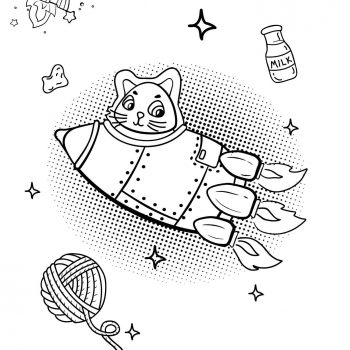 Printable rocket ship coloring page for kids | Cat in rocket Spaceship - space coloring pages for toddlers small preview