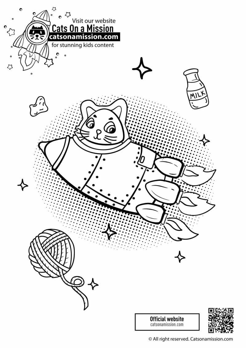 Printable rocket ship coloring page for kids | Cat in rocket Spaceship - space coloring pages for toddlers