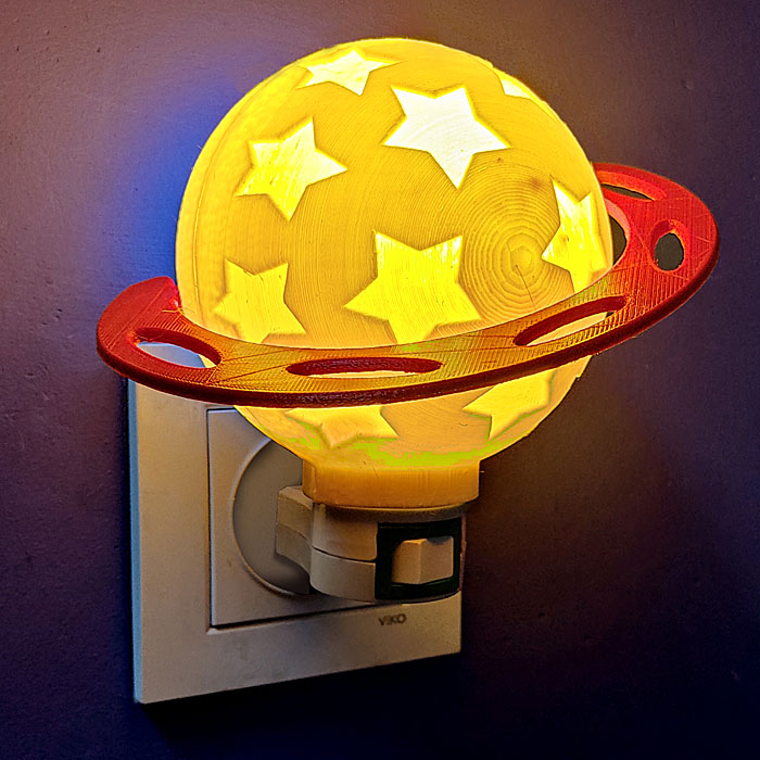3d printed lamp Mount - Planet Night Lights for kids - easy DIY project