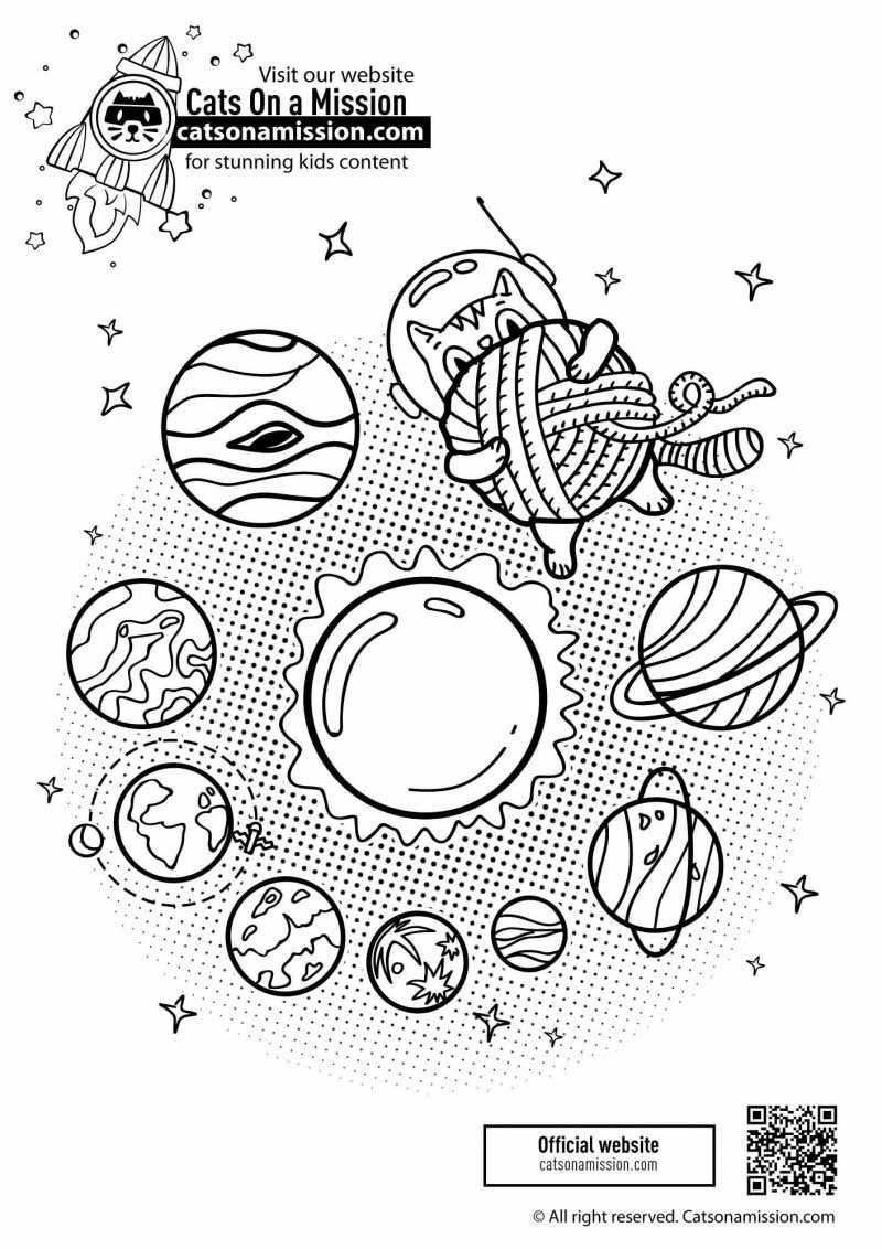 Planets coloring pages for kids in solar system | Cat in space with planets coloring pages for kids