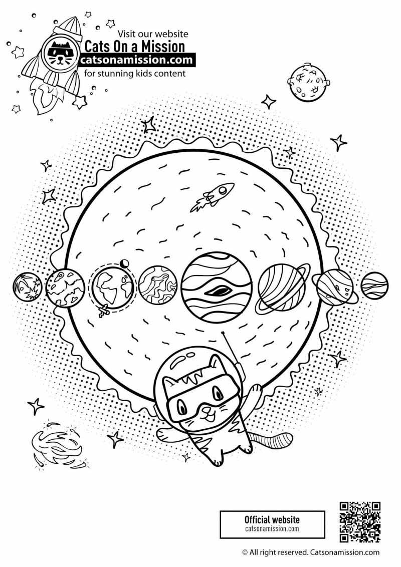 Sun and Planets coloring pages for kids with cat | Cat with planets - space coloring pages for kids