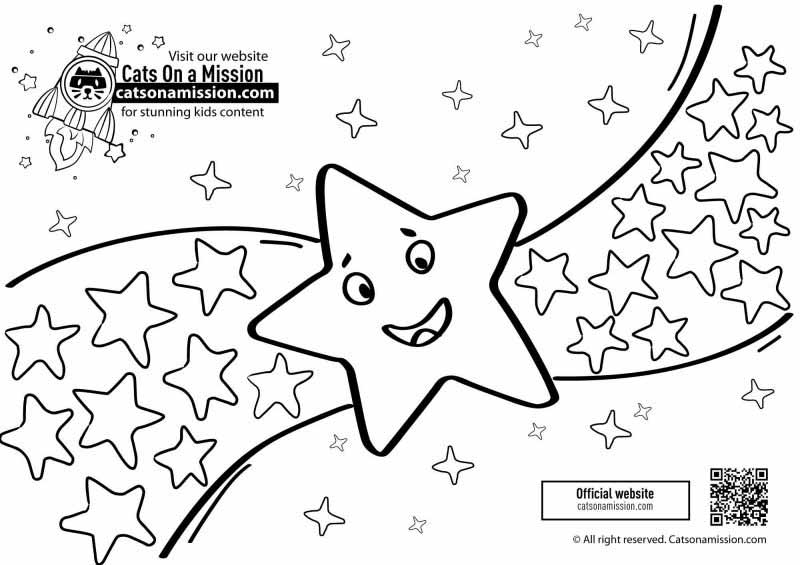 Star coloring pages for toddlers | A lot of stars and one big star coloring pages for kids