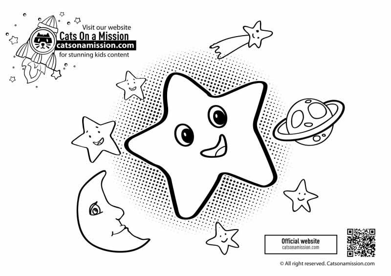 Cute Star coloring pages for toddlers | Cute Star with planets coloring pages for kids