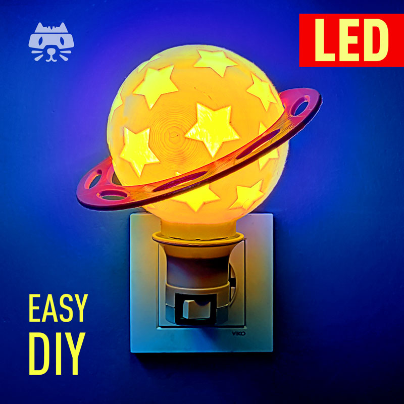 Planet Night Light for kids DIY - 3d printed lamp - easy DIY project