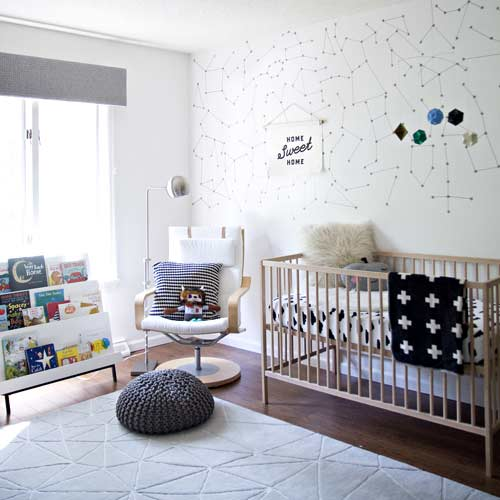 Outer space themed bedroom Nursery, constellation wall