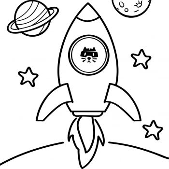 Printable rocket coloring page for kids | Launch of rocket Spaceship - space coloring pages small preview