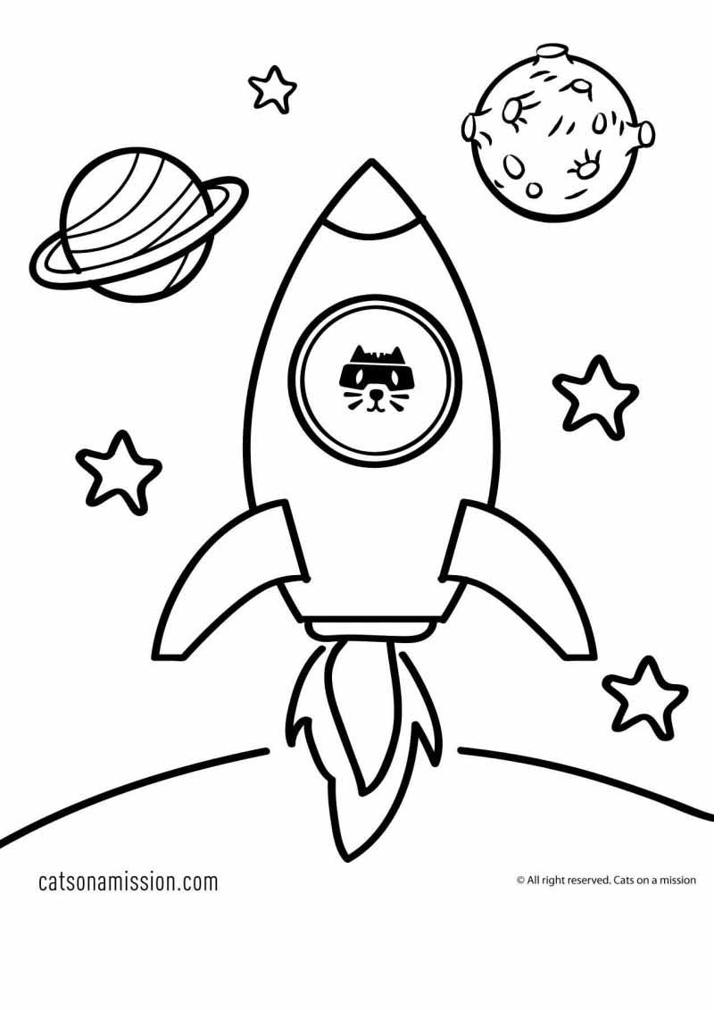 Printable rocket coloring page for kids | Launch of rocket Spaceship - space coloring pages