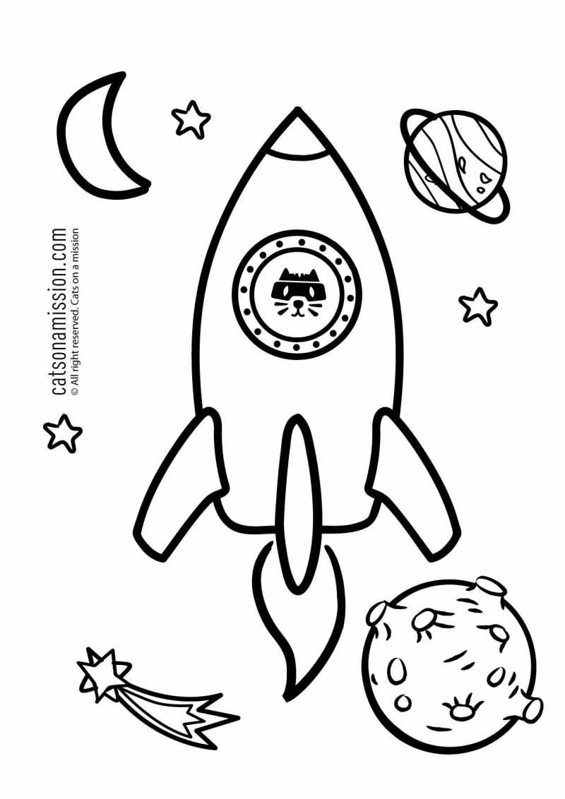 Printable rocket coloring page for kids | Space and rocket Spaceship - space coloring pages