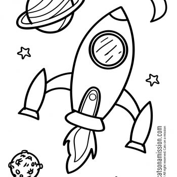 Printable space coloring page for kids | Rocket Spaceship in outer space coloring pages small preview