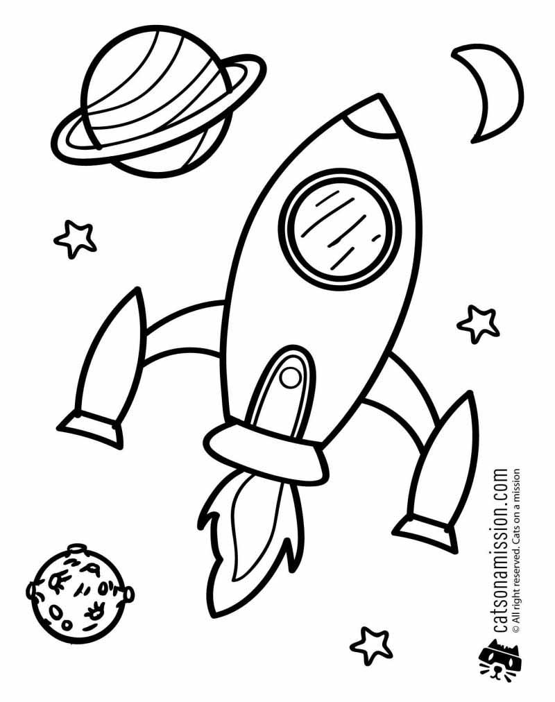 Printable space coloring page for kids | Rocket Spaceship in outer space coloring pages