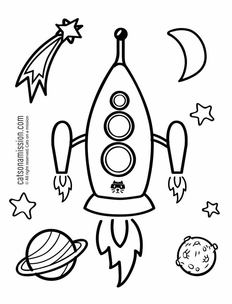 Printable space coloring page for kids | Rocket Spaceship - space coloring pages