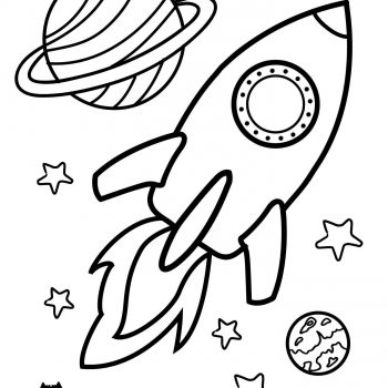 Printable space coloring page for kids | Rocket Spaceship - space coloring pages small preview