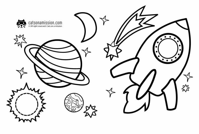 Space coloring pages for kids | space objects: rocket, Planets, comet, moon, sun coloring pages for kids