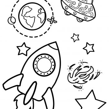 Space coloring pages for kids | Rocket, Earth, UFO coloring pages for kids small preview