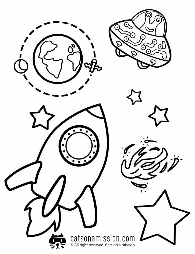 Space coloring pages for kids | Rocket, Earth, UFO coloring pages for kids