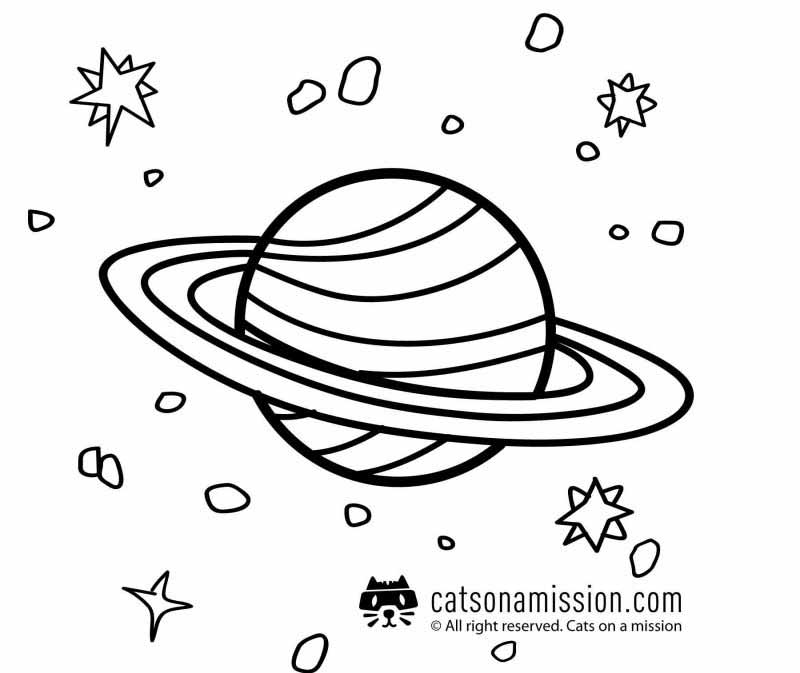 Space coloring pages for kids - Saturn | Saturn planet coloring pages for kids