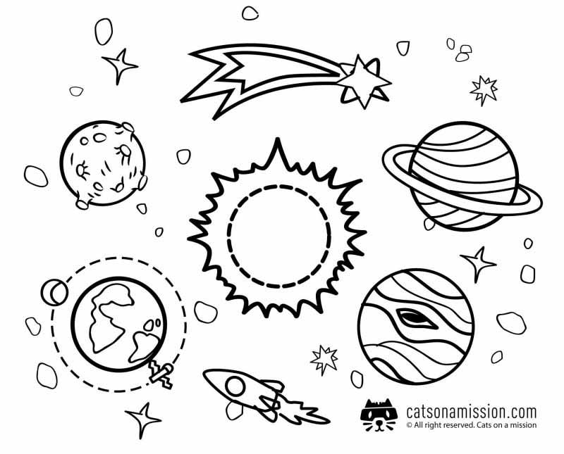 Space coloring pages for kids | Planets around the sun coloring pages for kids