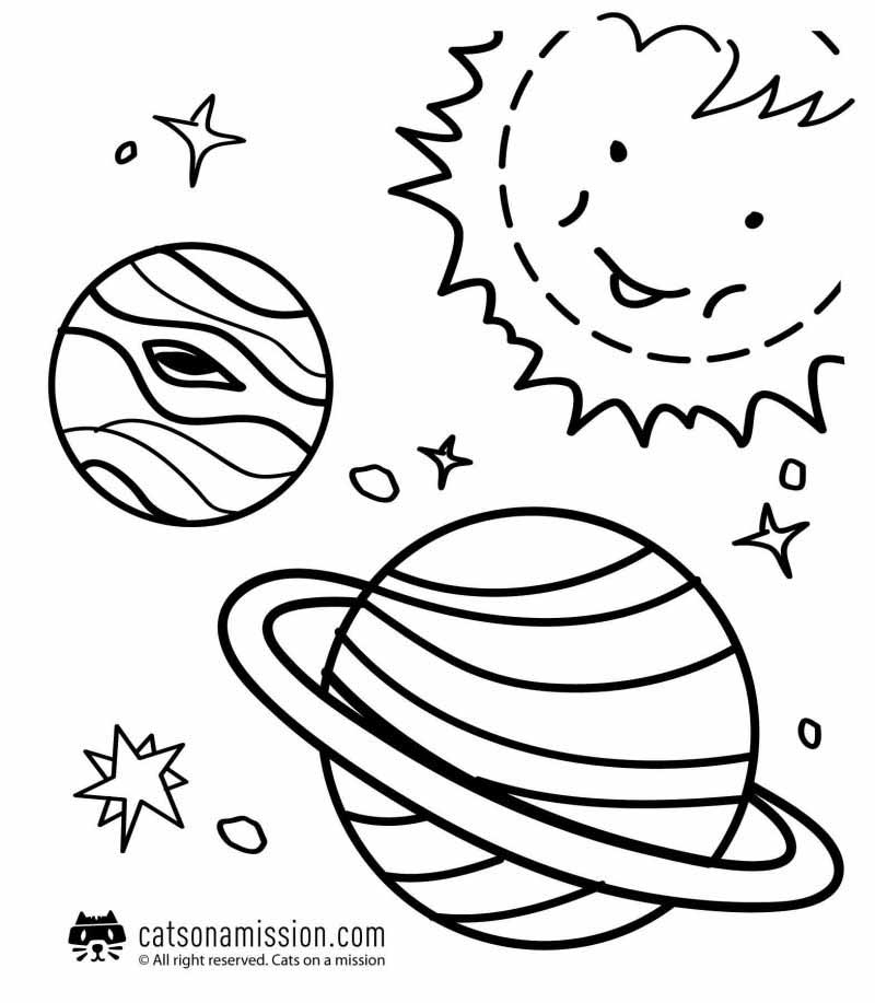 Space coloring pages for kids | Planets with faces coloring pages for kids