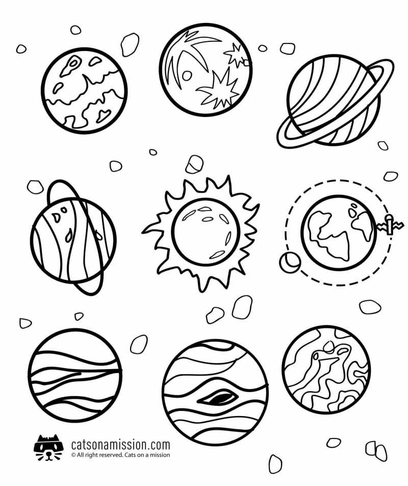 Space coloring pages for kids - solar system | Planets of solar system coloring pages for kids