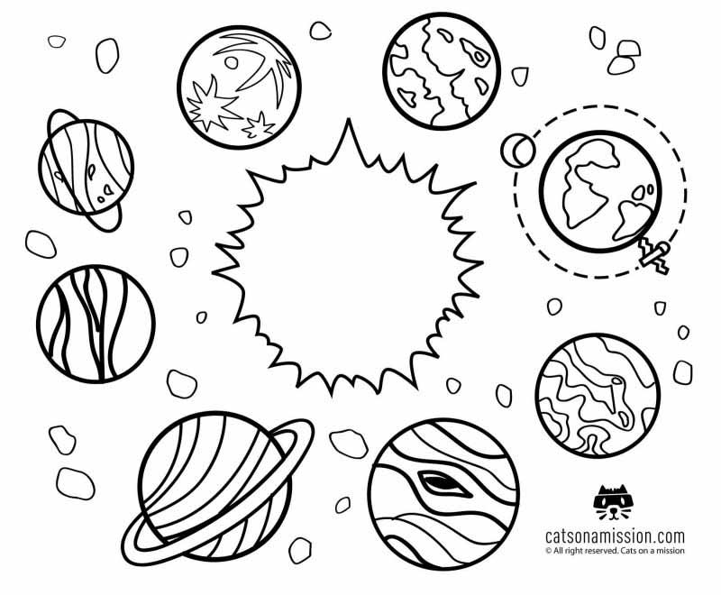 Space coloring pages for kids | All Planets around the sun coloring pages for kids
